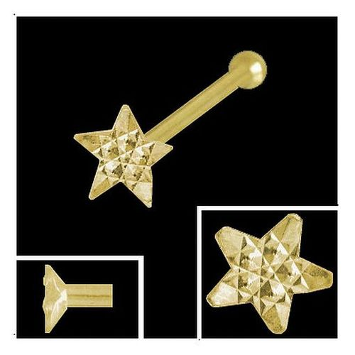 Nasenpiercing Stern 3,2 mm diamantiert 750 Gold  Kugelstift