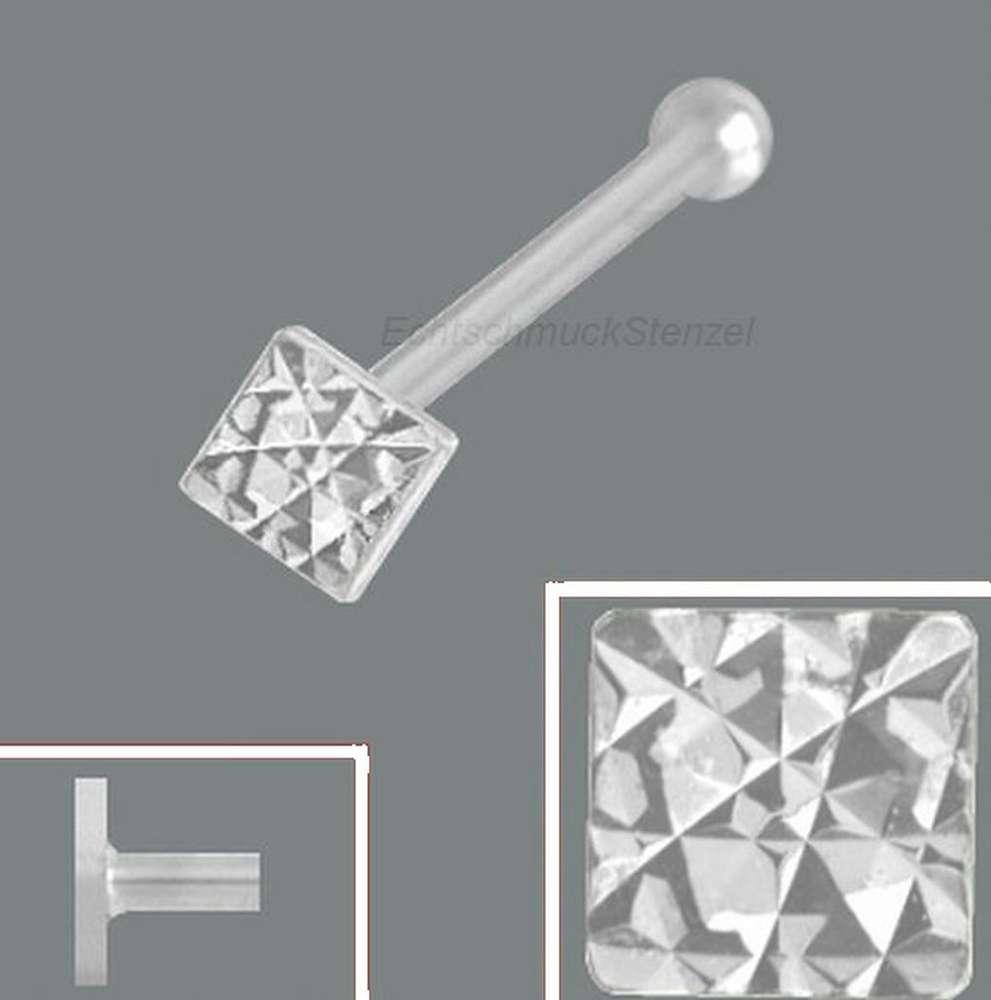 Nasenpiercing Viereck  diamantiert 925 Silber Nasenstecker Spirale