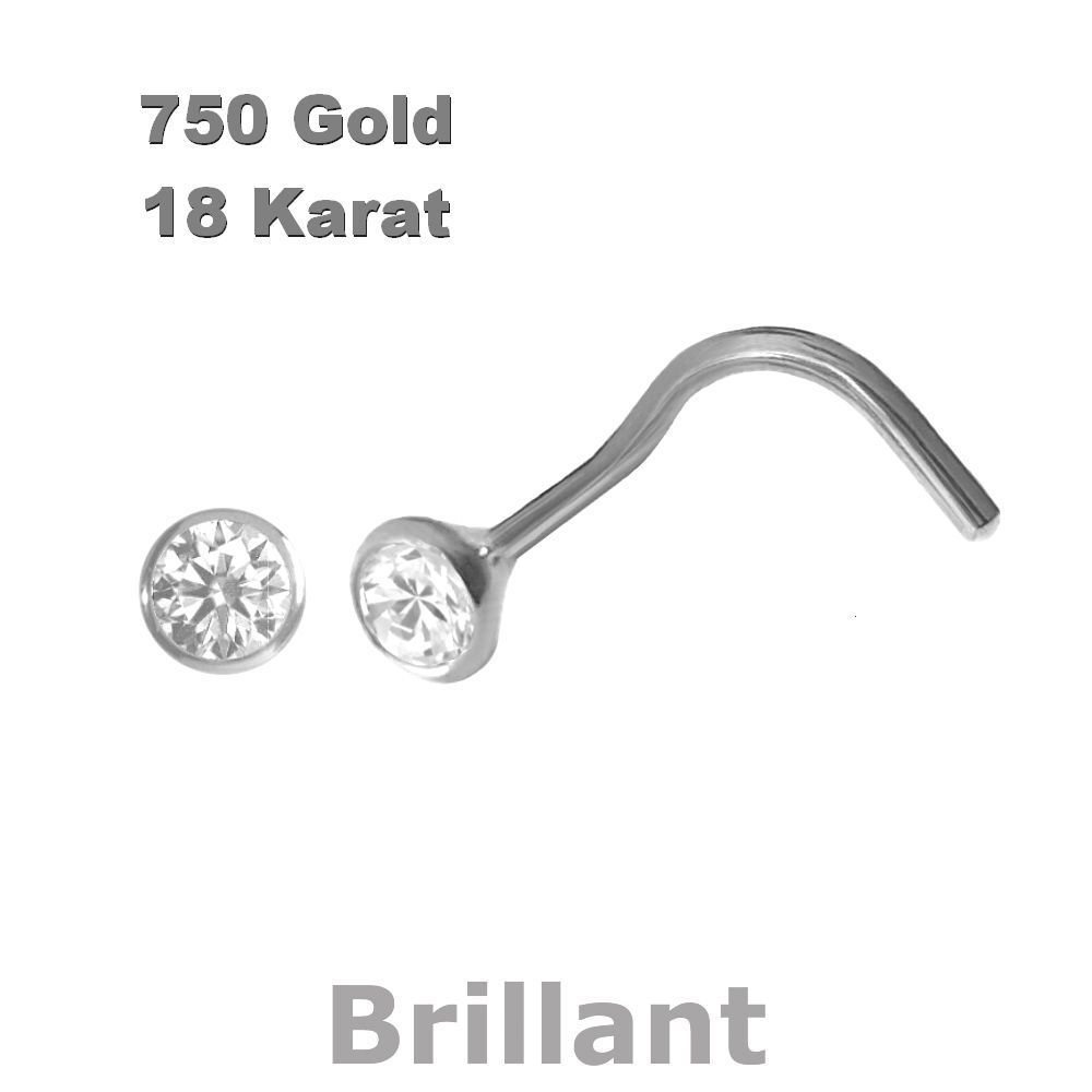 Brillant 750 Weißgold Nasenpiercing, Nasenstecker Spirale 2,3 mm