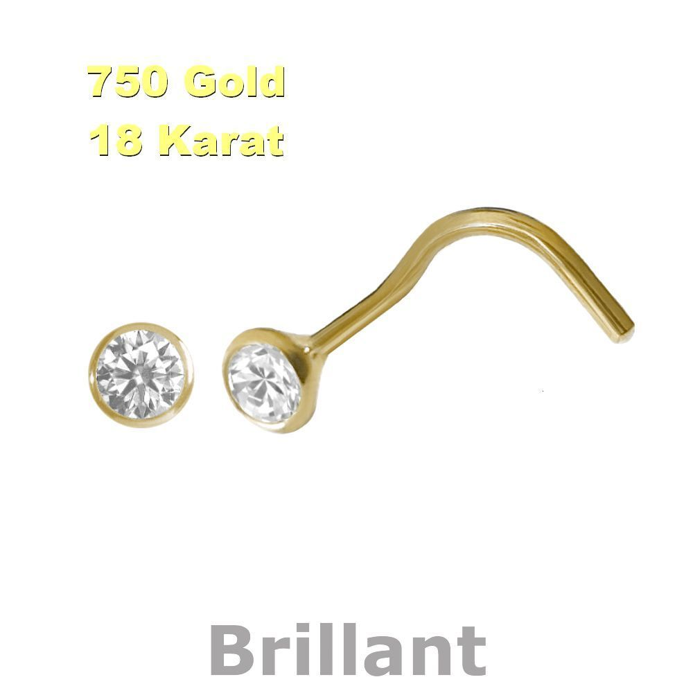 Brillant 750 Gold Nasenpiercing, Nasenstecker Spirale 2,8 mm